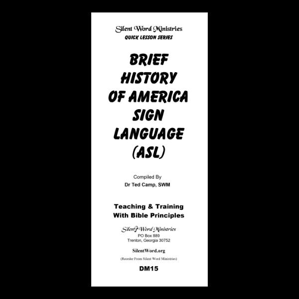 Brief History of ASL pamphlet image