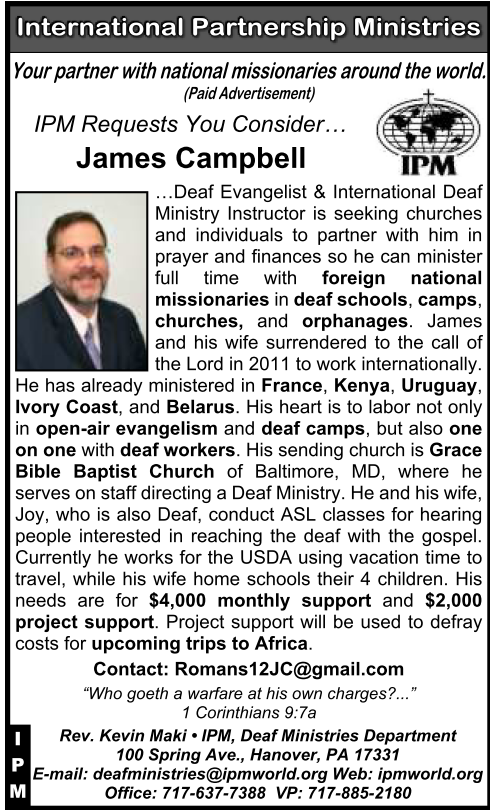 Ad for IPM missionary James Campbell