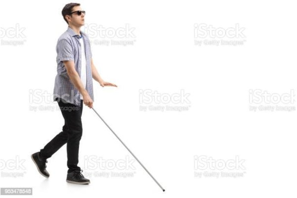 Blind man with cane