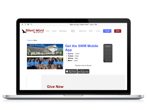 Laptop with SWM website